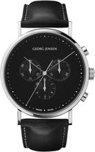 Georg Jensen Koppel 41 Mm Kronograf ? Svart Urtavla/svart Läderarmband