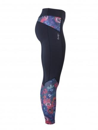 Pansy tights (Färg: Svart/blommig, Storlek: M)