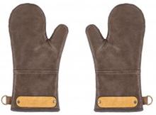 Grillvantar Ziczac brun läderimitation