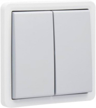 Splashproof non-illuminable double push button 10 a/250 vac with 2 n.o. or n.c. contacts excluding surface-mounting box with plug-in terminals light grey with dark grey button