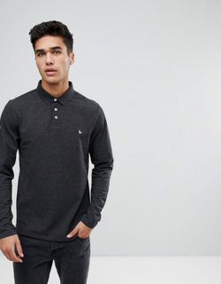 Jack Wills Staplecross long sleeve polo in grey - Grey
