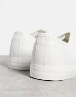 French Connection PU plimsoll trainers in white