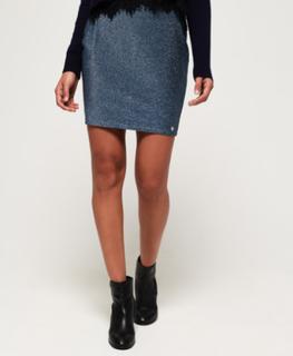 Superdry Mia nederdel med skinnende præg