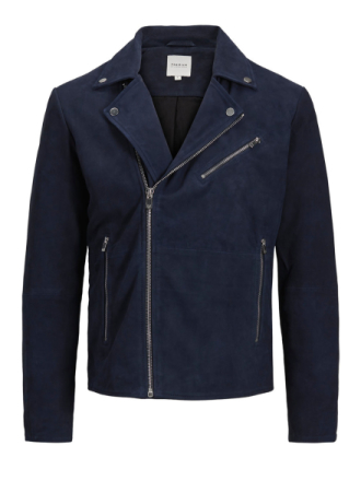JACK & JONES Classic Leather Jacket Men Blue