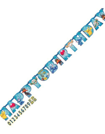 Happy Birthday Banner 3 meter - Pikachu og Pokémon-Venner