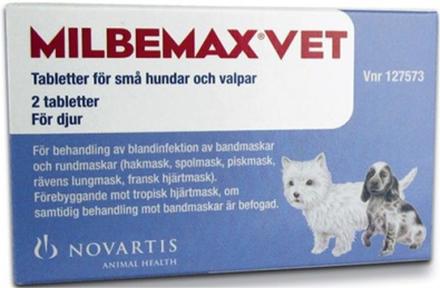 Milbemax vet. för små hundar och valpar, tablett 2 st