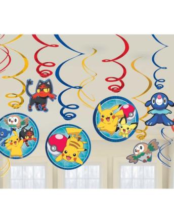6 stk Hengende Dekorasjoner - Pikachu og Pokémon-Venner