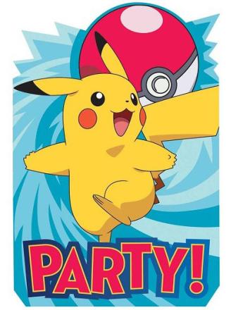 8 stk Invitasjoner - Pokémon Fest