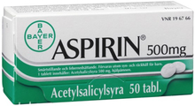 Aspirin, tablett 500 mg 50 st