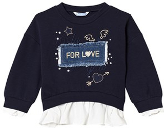 Mayoral Navy with Gold Embroidered Detail & Denim Applique Slogan Sweater 6 years