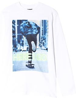 Mayoral White Here I Go Print Long Sleeve Tee 10 years