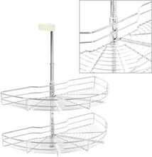 vidaXL Skåpkarusell köksskåp silver 180 grader 75x38x80 cm