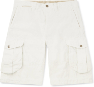 Slim-fit Garment-dyed Cotton And Linen-blend Cargo Shorts - Off-white