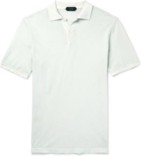 Slim-fit Garment-dyed Cotton-piqué Polo Shirt - Light blue