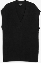 Pullover knit vest - Black