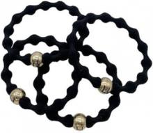 Hermine Hold Elastic Hair Tie 4-p Black