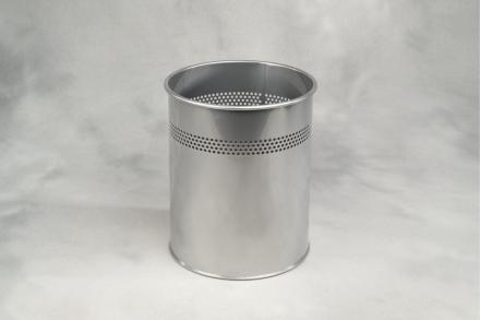 Papirkurv m/huller sølvmetal 15l højde 320mm dia. Ø260mm