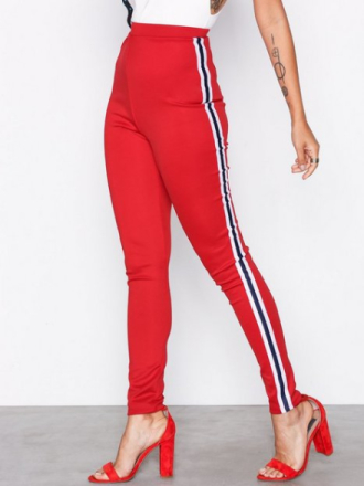 Missguided Double Stripe Leggings Red