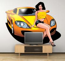 Wandtattoo Frau auf Auto gelb