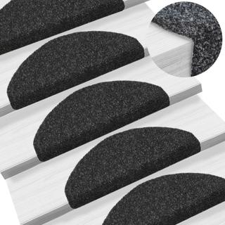 vidaXL 15 stk. selvklæbende trappemåtter nålenagle 65 x 21 x 4 cm sort