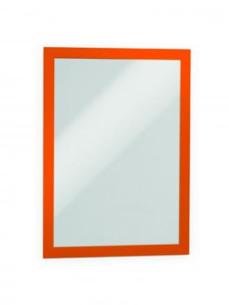 Skilt DURAFRAME® selvklæbende A4 m/orange ramme 2stk/pak