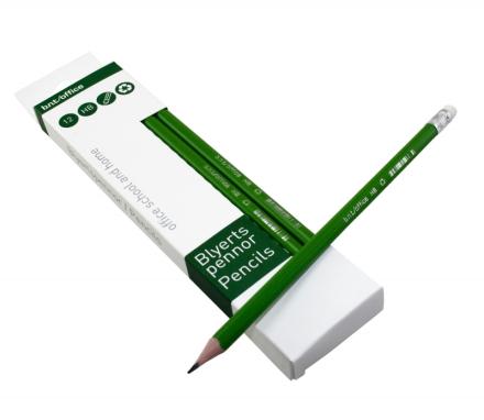 Blyant HB grøn m/viskelæder