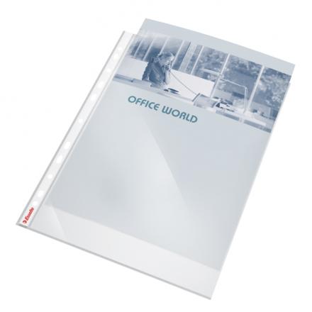 Plastlomme Esselte A4 0,105mm kraftig glasklar 10stk/pak m/hvid hulkant - Engsig.dk
