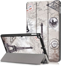 iPad Mini (2019) tri-fold pattern leather case - Eiffel Tower and Map