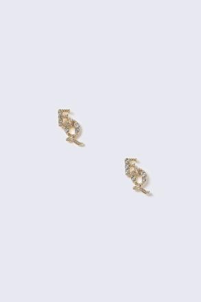 Gold Rhinestone EQ Stud Earrings