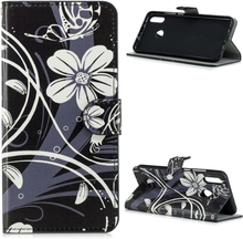 Huawei P Smart 2019 pattern leather case - Butterfly and White Flower