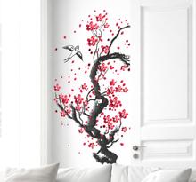 Muursticker stam en bloemen