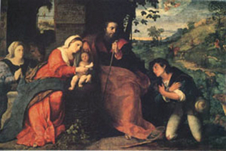 The Adoration of the Shepherds with a Donor,Palma Vecchio