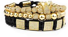 eStore 3 st Armband - Vit strass och guldfärgade pärlor