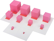 Montessori Materials Pink Tower with 10Pcs Stand Cards 0.7-7CM Early Childhood Education Preschool Kids Toys Brinquedos Juguetes