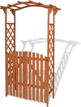 vidaXL Trädgårdsbåge med grind massivt trä 120x60x205 cm