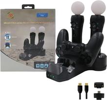 Latausasema 4in1 Playstation 4 ohjaimille / VR ohjaimille, Laddar 2 dualshock + 2 VR kontroller
