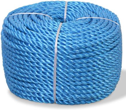 vidaXL Tvinnat rep i polypropylen 10 mm 100 m blå