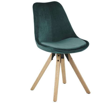 Shell spisebordsstol flaskegrøn - Velour (Udgået model)