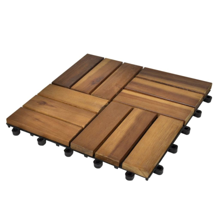 vidaXL 10 stk. terrassefliser i akacietræ 30 x 30 cm