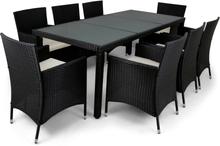 Matgrupp utemöbler med 8 stolar   Dynor ingår   Konstrotting