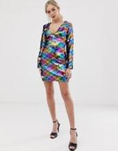 Parisian - Regnbågsfärgad v-ringad klänning med heltäckande paljetter - Flerfärgad