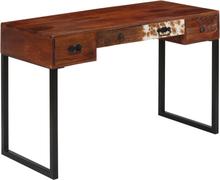 vidaXL Kirjoituspöytä kiinteä seesampuu ja aito nahka 117x50x76 cm