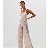Miss Selfridge - jumpsuit med vida ben och guldfärgade paljetter - Guld