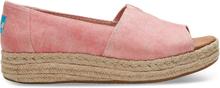 TOMS Schuhe Pink Washed Twill Peeptoe-Alpargatas Mit Plateausohle Für Damen - Größe 36