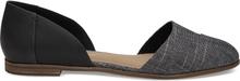 TOMS Damen Schuhe Schwarz Leder Chambray Jutti D'orsay Flats - Größe 38