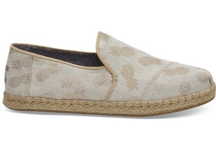 TOMS Schuhe Gold Metallic Mit Ananas-Muster Deconstructed Alpargatas Für Damen - Größe 35.5