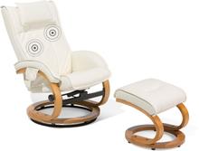 Lämmittävä Hierova nojatuoli tekonahkainen beige MAJESTIC