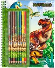 Dino World Värityskirja ja Värikynät