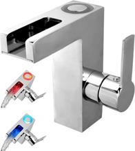 SCHÜTTE Tvättställsblandare LED med vattenfall ORINOCO krom