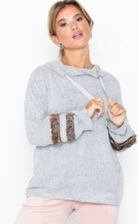 River Island Pearl and Fur Trim Hoodie Pyjamasser & hyggetøj
